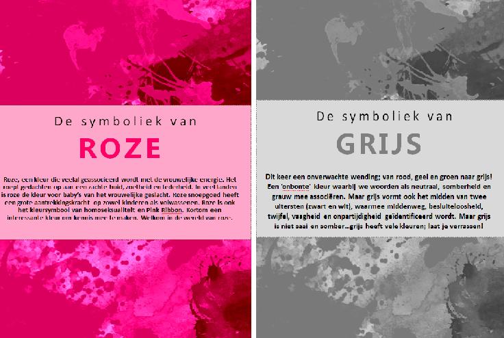 Kleursymboliek Roze en Grijs